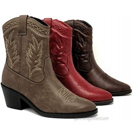 Soda Picotee Women Western Cowboy Cowgirl Stitched Ankle Boots
