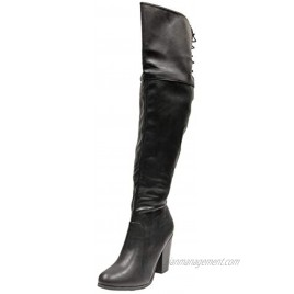 Chase & Chloe Max-2 Women's Over The Knee Thigh High Suede Chunky Heel Boot