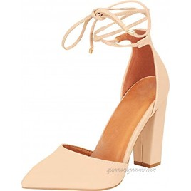 Cambridge Select Women's D'Orsay Closed Pointed Toe Ankle Tie Chunky Block Heel Pump
