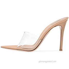 Amy Q Open Pointed toe High Heel Mules Sexy Sandals for Women Dress Heels Ladies Stiletto Heel Summer Shoes