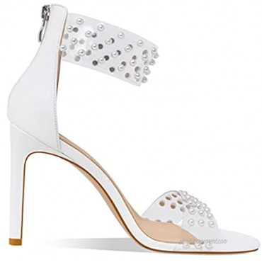 YOWMNS Summer Clear Pearl Decoration Women's strappy Stiletto Sandals Ankle Strap Back Zipper Open Toe Fashion Fine Wedding Bridesmaid Dress Party Cupid High Heel Pumps