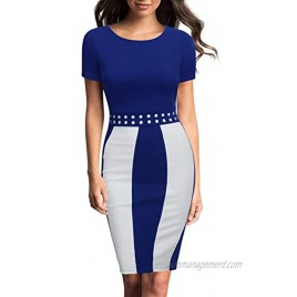 FORTRIC Women Short Sleeve Round Neck Elegant Bodycon Wear to Work Party Dress