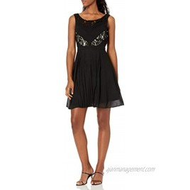 Minuet Women's Short Chiffon Dress with Lace Accents on Bodice