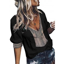Aleumdr Womens Casual Boho Embroidered V Neck 3 4 Sleeves Shirts Loose Blouse Tops S-XXL