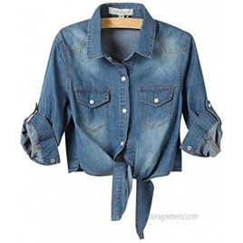 AMEBELLE Women's Roll Up 3 4 Sleeve Tie Front Knot Shirt Chambray Denim Crop Top
