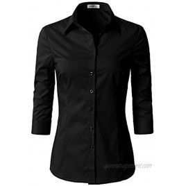 Doublju Womens Basic Slim Fit Simple 3 4 Sleeve Button Down Shirt with Plus Size