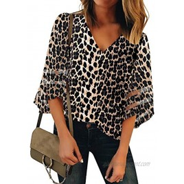 luvamia Women's Casual V Neck Blouse 3 4 Bell Sleeve Mesh Panel Shirts Loose Top