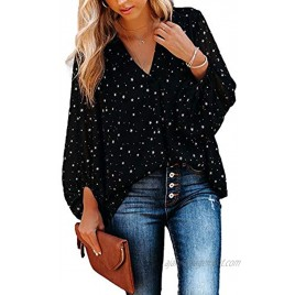 MLEBR Womens Long Sleeve V Neck Casual Floral Leopard Printed Chiffon Blouses Tops T Shirts
