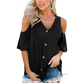 Spadehill Womens Cold Shoulder Button Down Knot Front Short Sleeve Tops