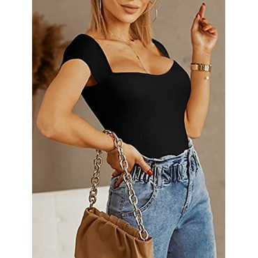 Womens Square Neck Cap Sleeve Crop Tops Slim Fitted Ribbed Knit Summer Sexy T Shirts