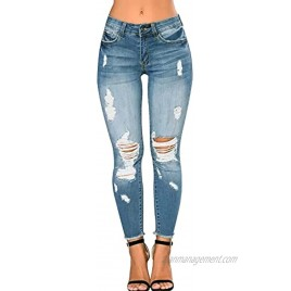 CME SHOWU Women Skinny Ripped Jeans Stretch Distressed Destroyed Denim Pants