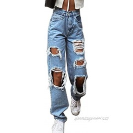 Mwardrobe Women High Waisted Baggy Ripped Jeans Boyfriend Fashion Large Denim Baggy Blue Jeans for Girls