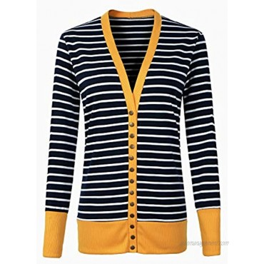 Faatoop Women's Button Down Knitwear Casual Long Sleeve V-Neck Open Front Striped Cardigan Sweater