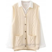 FTCayanz Women's Sweater Vest Button Down Cable Knit Cardigan Outwear