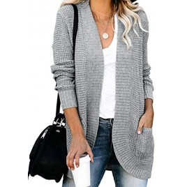 ZESICA Women's Long Sleeve Open Front Casual Lightweight Soft Knit Cardigan Sweater Outerwear with Pockets