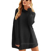 ANRABESS Women Casual Turtleneck Batwing Sleeve Slouchy Oversized Ribbed Knit Tunic Sweaters Pullover