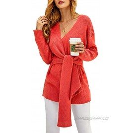 FERBIA Women Oversized Sweater Sexy V Neck Wrap Knit Pullover Fall Batwing Long Balloon Sleeve Slouchy Mini Jumper Tunic Top