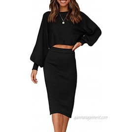 ZOWODO Women's Casual Two Piece Solid Color Ribbed Knit Long Sleeve Tops and Bodycon Midi Skirt Sweater Outfits Sets
