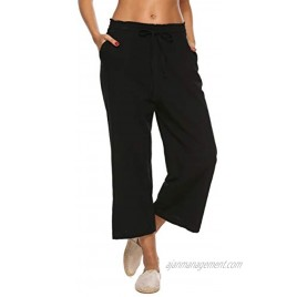 LNX Womens Linen Pants High Waisted Wide Leg Drawstring Casual Loose Trousers with Pockets