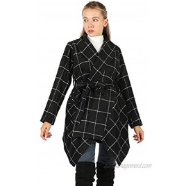 Tanming Women's Casual Fashion Warm Lapel High Low Wool Blend Plaid Coat with Belt