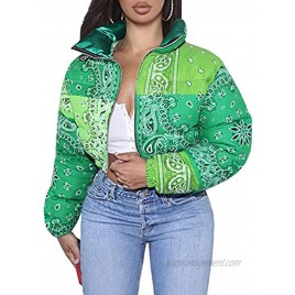 CHARTOU Women's Cute Stand Collar Paisley Quilted Puffer Crop Down Alternative Jacket Coat