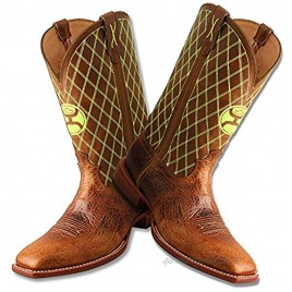 Twisted X Men's 12″ WS Toe Hooey Boot Western Pull-on Boots Peanut & Neon Green 10 2E