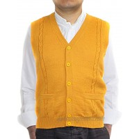 Alpaca Vest Sweater Jersey with BRIAD Yellow V Neck Buttons and Pockets Made in Peru