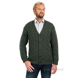 SAOL 100% Merino Wool Men's Aran Cable Knit V Neck Casual Irish Cardigan with Buttons and Pockets