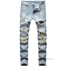 LUCKAMILEE Men's Ripped Jean Fashion 5-Pocket Jeans Relaxed Fit Straight Leg Denim Pants