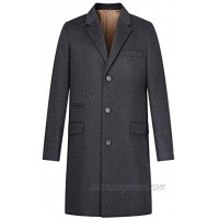 AIYIMEI Men Cashmere Coat Men's Classic Notched Collar Single Breasted Wool with Cashmere Long Overcoat