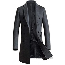 PASOK Men's Winter Trench Coat Double Breasted Pea Coat Notched Collar Overcoat Business Down Jacket