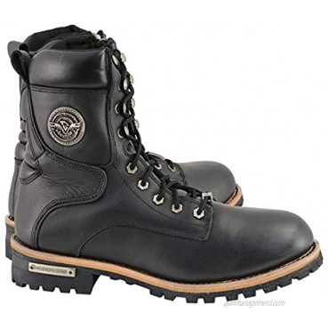 Milwaukee Leather MBM9095W Men's Classic Black 'Wide Width' Lace-Up Logger Boots with Side Zipper 15W