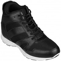CALTO Men's Invisible Height Increasing Elevator Shoes Black Leather Mesh Lace-up Sporty Trainers 4 Inches Taller G3330